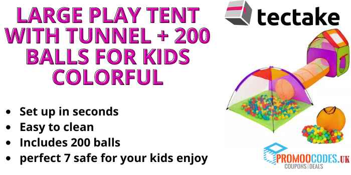 Large Play Tent with Tunnel + 200 Balls for Kids Colourful